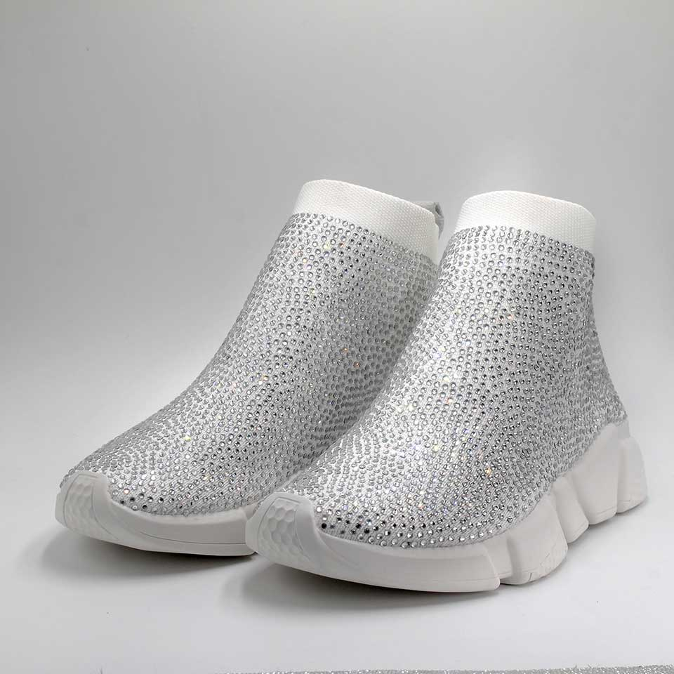 Crystals Sock Shoes Women Sports Sneakers Rhinestone Casual Boots Ladies Fashion Female Bling Knitted Stretch Mesh Designer ShoeCrystals Sock Shoes Women Sports Sneakers Rhinestone Casual Boots Ladies Fashion Female Bling Knitted Stretch Mesh Designer Shoe