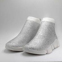 Купить с кэшбэком Crystals Sock Shoes Women Sports Sneakers Rhinestone Casual Boots Ladies Fashion Female Bling Knitted Stretch Mesh Designer Shoe