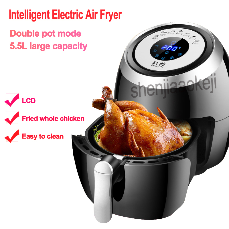 Intelligent Electric non-oil fume Air Fryer Multifunctional Household Touch Screen Double pot Fryer EU/AU/UK/US 220v 1500w 1pcIntelligent Electric non-oil fume Air Fryer Multifunctional Household Touch Screen Double pot Fryer EU/AU/UK/US 220v 1500w 1pc