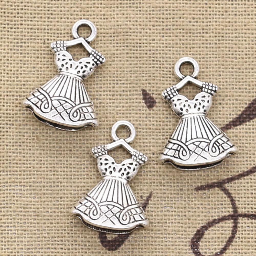 Diy Armband Halskette Lassen Sie Unsere Waren In Die Welt Gehen 6 Stücke Charms Double Sided Kleid Rock 22x15mm Antike Der Anhänger Fit Vintage Tibetischen Silber