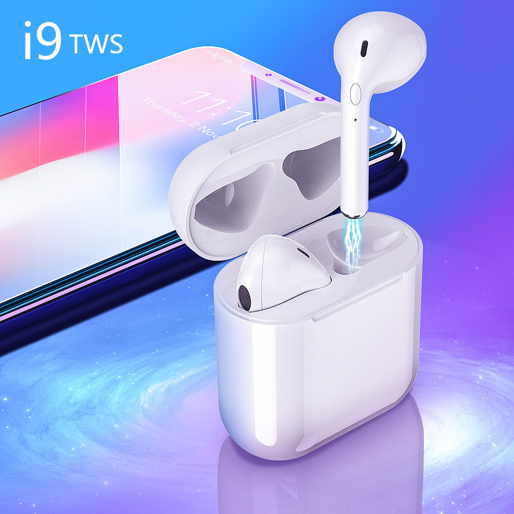 i9 TWS Mini Wireless Headphones Bluetooth Earbuds Stereo Headphones With Charging Box Headset for iPhone Android all smartphone