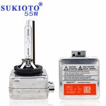 SUKIOTO OEM 55 w Xenon D1S Lampada Allo Xeno hid lampadina allo xeno d3s d1s 6000 k 4300 k 5000 k 8000 k 10000 k per D1S D3S zavorra nascosto il corredo del faro