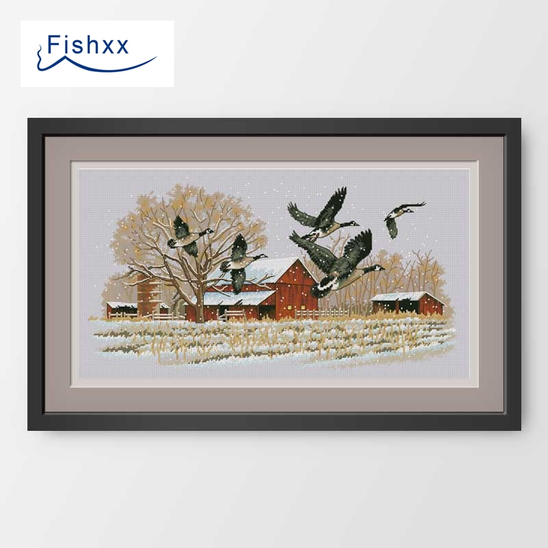 Fishxx Cross Stitch Package D825 Flying Wild Goose Handmade Embroidery Motif In A Hut This Bag Is Not A Pillow