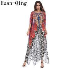 2018 Summer Women Vintage Chiffon Luxury Printing Loose Long Abaya Dress  Plus Size Ethnic Style O-Neck Party Dresses Vestidos a2fd9283a3a3