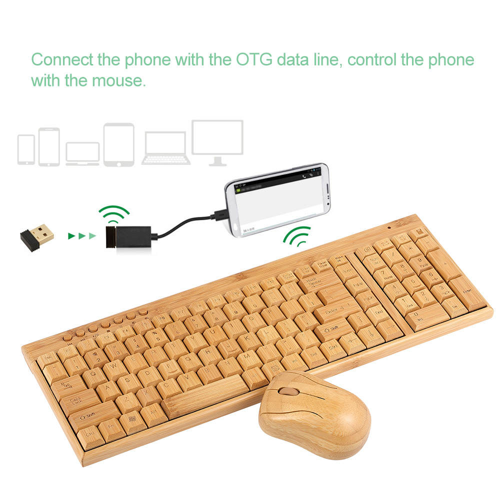 Handcrafted 2.4G Wireless Natural Bamboo Wood PC Keyboard & Mouse Set Computer Keyboard Plug and Play office home 16