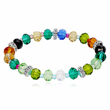 10pcs/lot Handmade Crystal Beads Bracelets Colored 8mm Women Fashion Charm Gifts Jewelry Accessories Length 18cm