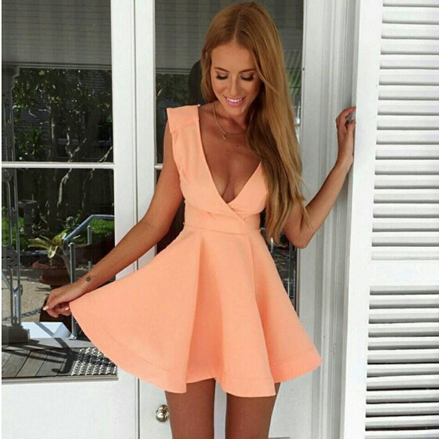 eda568e403 2015 hot sexy Summer style sleeveless v-neck low-cut pink mini dress Women s  clubs and sexy dress sexy derss Free shipping