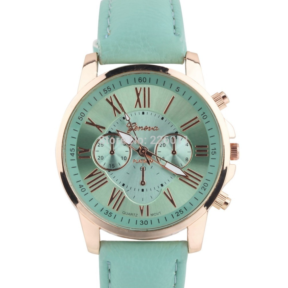 1 Pcs Women Girl Roman Numerals Faux Leather Analog Quartz Wrist Watch Stylish