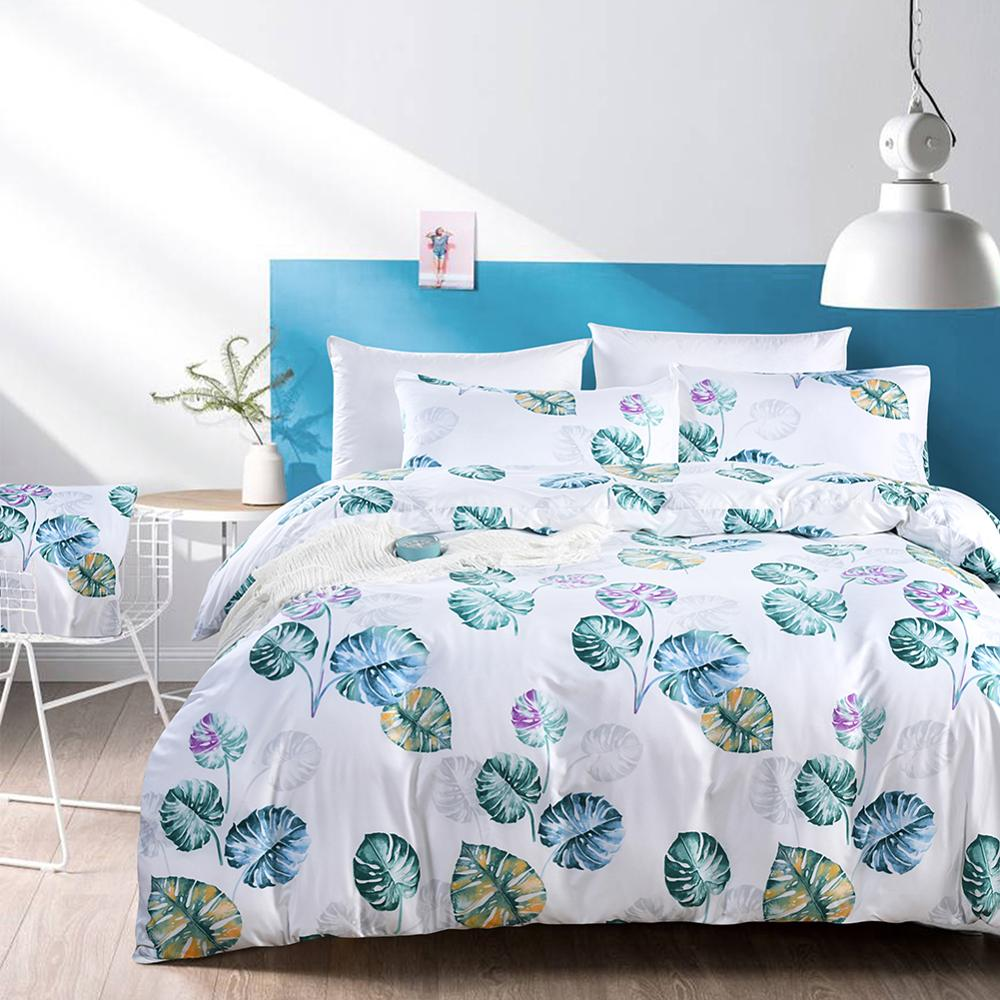 M19032 Comfortable Nordic Style Polyster Bedclothes Set Palm Leaf Printing Fastener Quilt Cover Sheet Bed Set Pillow Case HomeM19032 Comfortable Nordic Style Polyster Bedclothes Set Palm Leaf Printing Fastener Quilt Cover Sheet Bed Set Pillow Case Home
