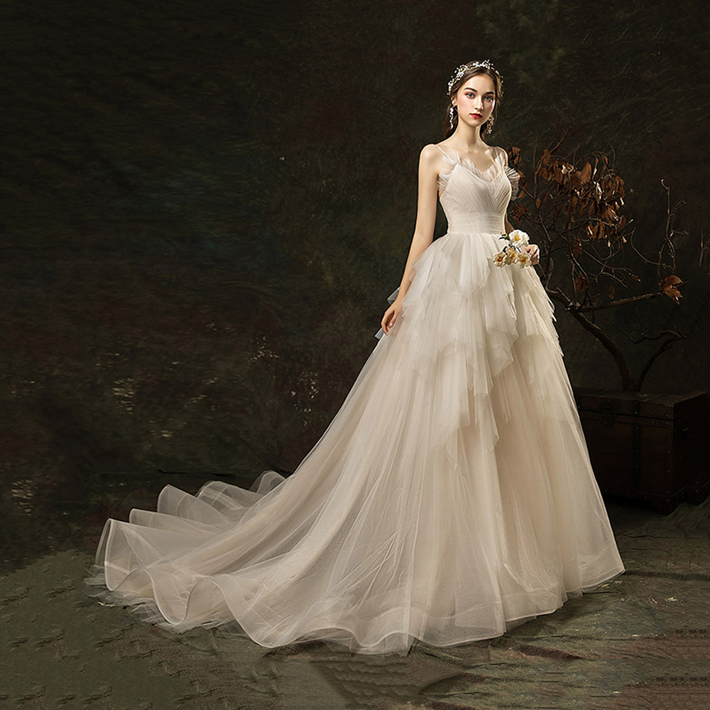 Dressv Elegant Sample Spaghetti Straps Wedding Dress Sleeveless Lace Pleats Floor Length Simple Bridal Gowns Wedding Dress