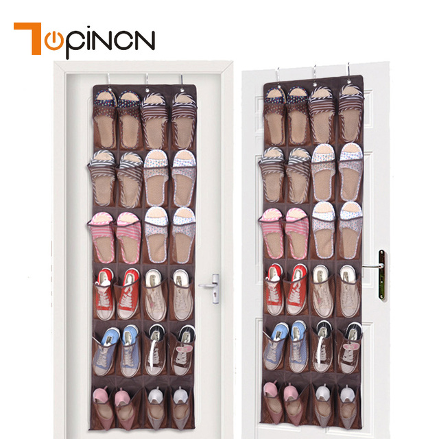 24 Pockets Hanging Shoes Storage Bag With Hooks Wardrobe Door Wall