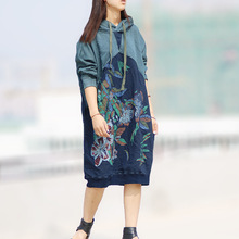 Women Hooded Retro Floral Print Patchwork Loose Dress Ladies Splice Flower Printed Plus Size Dresses Long