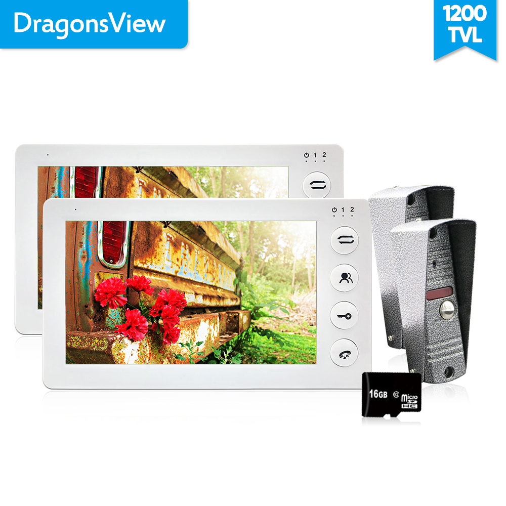 Dragonsview HD 1200TVL Video Door Phone Record Inercom System 7 Inch Video Call Bell White Color 2 Monitors and 2 doorbells