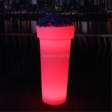 Outdoor waterproof colorful changing illuminated Large round L LED Flower pot remote control plant pot rechargeable garden pot