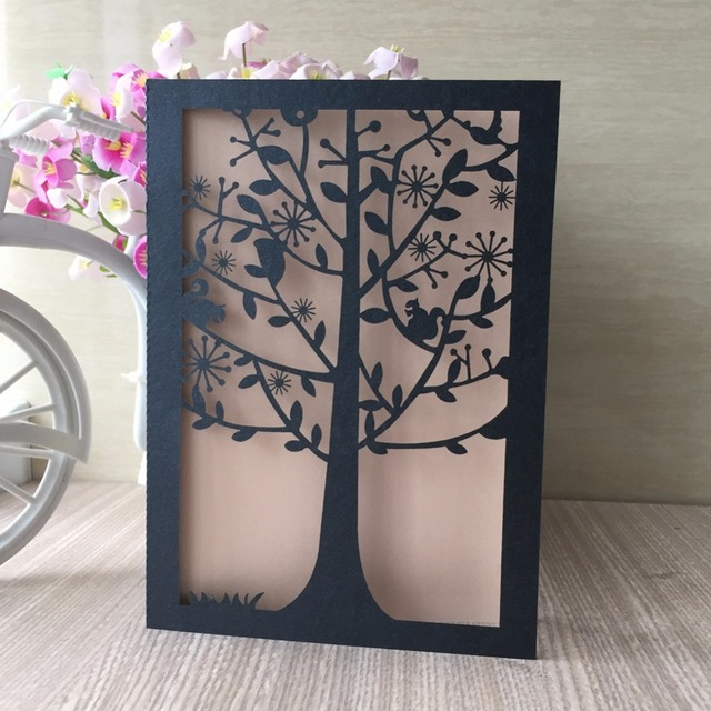 Aliexpress buy 50psclot free shipping wedding cover card tree 50psclot free shipping wedding cover card tree party birthday dinner pocket designwedding invitations cards stopboris Image collections