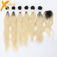 X TRESS Peruvian Natural Wave Human Hair Weaves 6 Bundles With Closure Ombre Black Blonde 613# Hair Bundles One Pack For Women