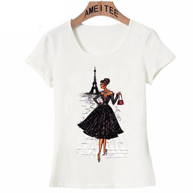 Cổ điển Vogue Paris Đen in ấn Cô Gái Áo Sơ Mi mùa hè thời trang Phụ Nữ T Áo Sơ Mi mới lạ giản dị Tops hipster mát phụ nữ Tee