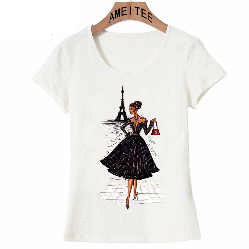Vintage Vogue París negro impresión chica camisa verano moda mujer camiseta novedad casual Tops hipster cool señoras Tee