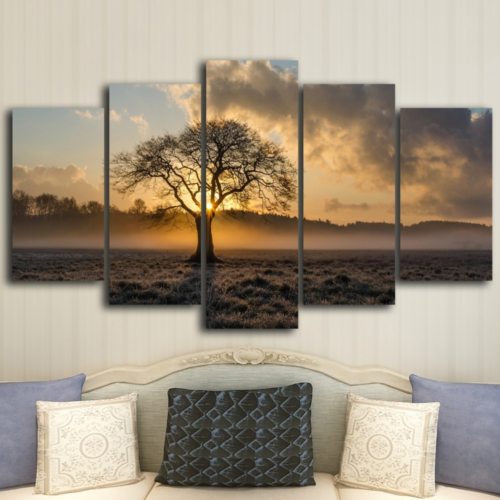 Canvas Painting Vintage HD Wall Art Frame Printed Pictures 5 Panel Poster Sunrise Tree Landscape Photo For Living Room Decor
