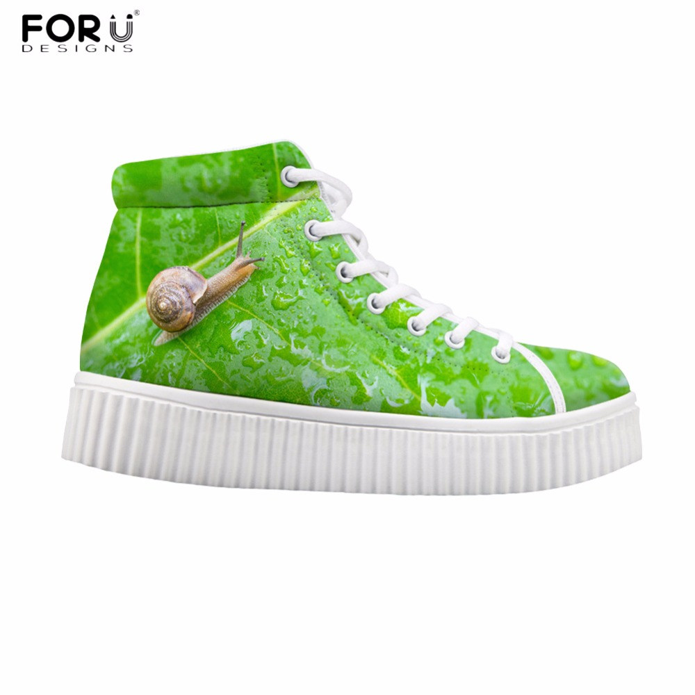 FORUDESIGNS Funny Snail Prints Novel Women Platform Casual Shoes 3D Green Leaf High Top Flats Sneaker for Lady Ankle Boots Women novel 3