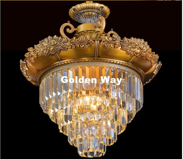 Modern European D470mm H630mm Brass Color Crystal Chandelier Lamp LED Crystal Lustre Bronze Light Fixture Villa Cristal Lighting