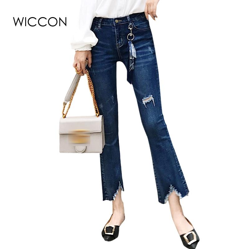 93bc22fbca273 Flaco pantalones acampanados pantalones vaqueros de las mujeres de cintura  alta nueva llegada oficina pantalón de señora delgado irregular agujero de  la ...