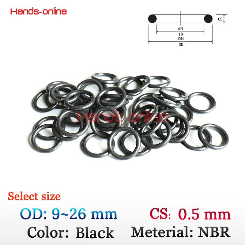 10x 50x NBR rubber O-rings select OD 9 10 12 13 16 21 24.5 26 40.5 61 mm x CS 0.5 mm Oil sealing O-ring O ring