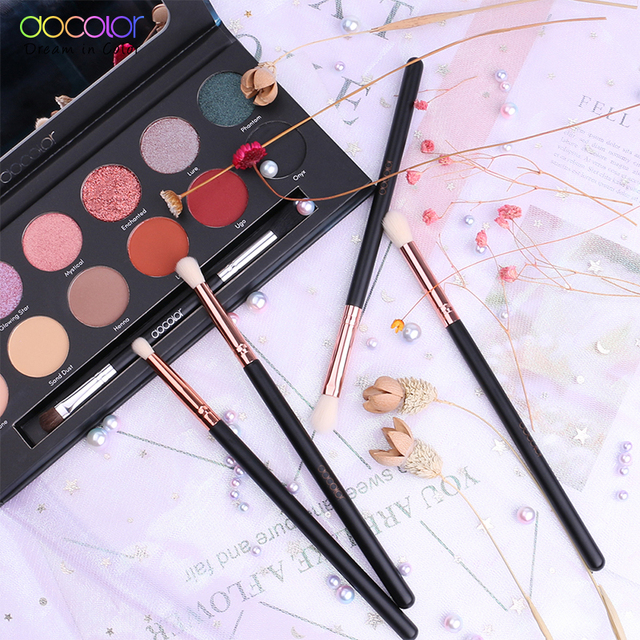 Docolor Makeup Brushes 4PCS Eyeshadow Brush Blending Eyebrow Make Up Brushes Synthetic Bristles Beauty Cosmetics Brush Set 4