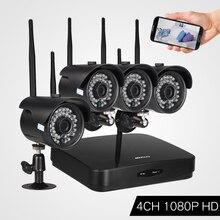 KKmoon 4CH 1080 P WiFi NVR комплект с 4 шт. 1080 P Беспроводная WiFi Водонепроницаемая пулевидная ip-камера для системы видеонаблюдения