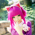 Annie LOL Dark Pink Short Cosplay Party Wig Free Shipping