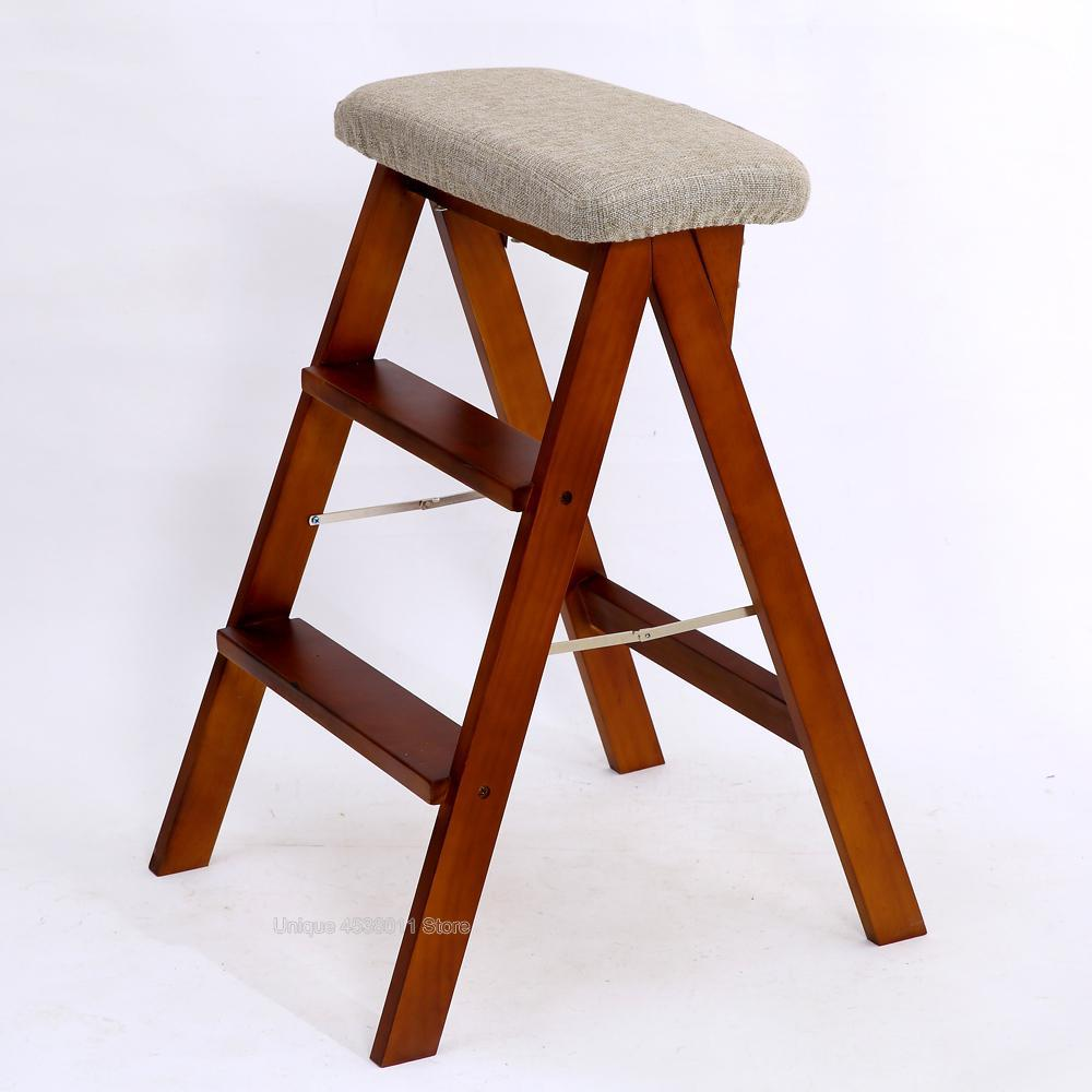 Strange Us 62 15 17 Off Solid Wood Creative Folding Stool Simple Folding Kitchen Ladder Stool Portable High Stool Home Change Shoes High Stool In Step Lamtechconsult Wood Chair Design Ideas Lamtechconsultcom