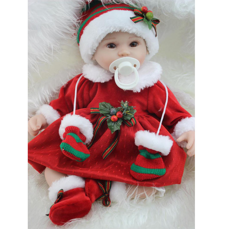57cm Cartoon Reborn Baby Doll Wear Red Clothing 17'' Soft Silicone Doll Baby Stuff Kids Toy Xmas Gifts with Free Magnet Pacifier npkcollection fashion reborn baby doll 22 with free pacifier safe soft silicone model baby reborn with clothes kits xmas gifts