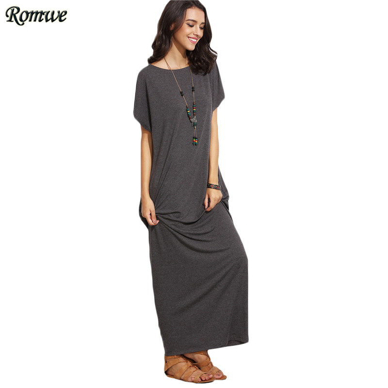 Romwe grey short batwing sleeve basic maxi dress women Women s long sleeve shirt dress