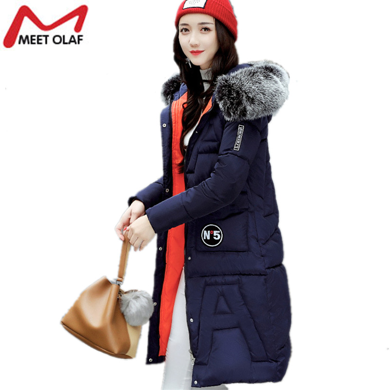 2017 New Winter's Down Jackets Women Winter Coats Fur Hooded Female Long Parkas Cotton Padded Outwear Thick Warm Overcoats Y1019 2017 new fur collar parkas women winter coats medium long thick solid hooded down cotton female padded jacket warm slim outwear