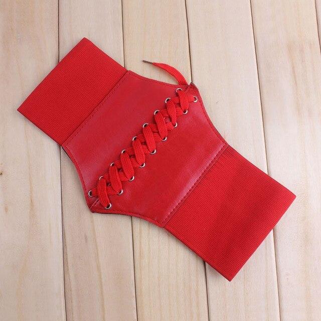 1b24206b1193 Nouveau mode Sexy Faux cuir femmes ceinture noir élastique Extra large  Corset Tie taille haute amincissant