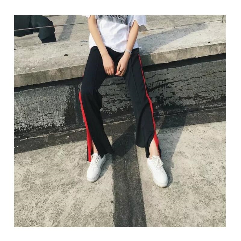Side Red Striped loose High Waist Pants Female Wide Leg Sweatpants side spilt boot cut pant Elastic waist fly straight Trousers