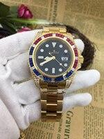 Luxury New Brand Men Automatic Mechanical Rainbow Diamonds Stainless Steel Gold Black Blue Green Classic Gent's Watch SUB