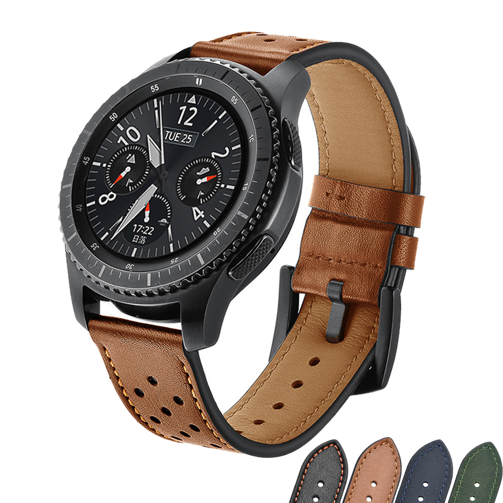 22mm Watch Band Retro Genuine Leather Strap For Samsung Galaxy Watch 46mm Gear S3 Frontier Metal Buckle Amazfit Bip Huewei Watch