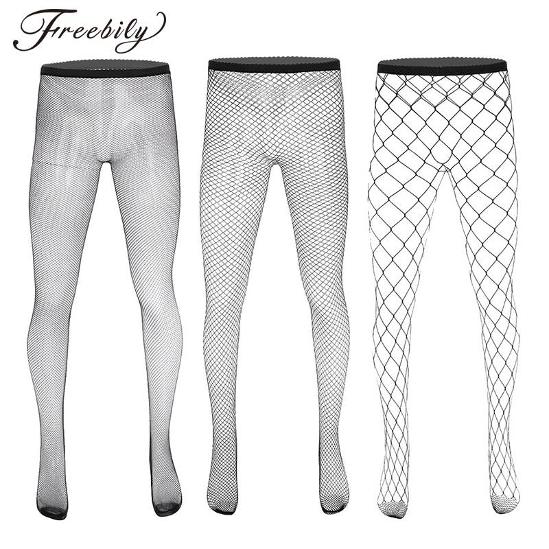 Men Hot Hollow Out Fishnet Pantyhose See Through Sheer Elastic Waist Closed Toes Male Body stocking Stretchy Pantyhose Stockings