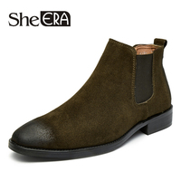 She ERA NEW Style Men Boots Cow Suede Leather Men Shoes Autumn High Quality Casual Men Ankle Boots Comfortable Chelsea Boots