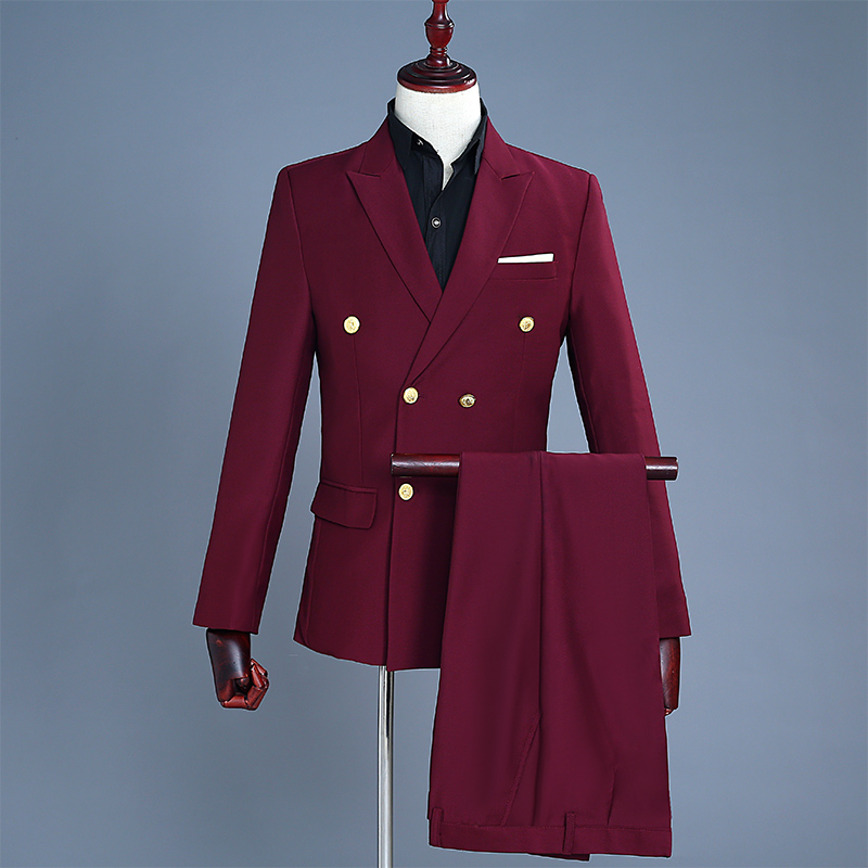 S-XXL!   2018   Men's Wine Red Double-breasted Suit With Gold Buckle Suits The Korean Version Of The Groom's Dress
