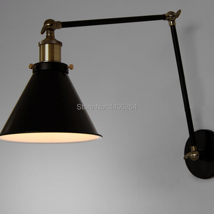 ФОТО Vintage Edison Adjust Wall Swing Arm Lamp Matte Black Wall Light For Cafe Bar Hall Coffee Shop Club Store Restaurant Balcony