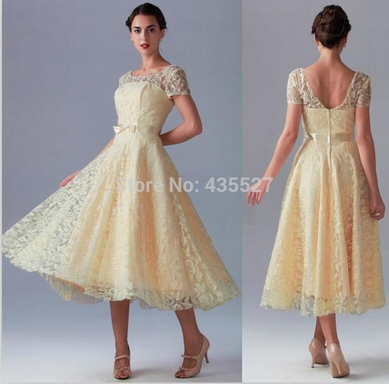 2016 Light Yellow Bridesmaid Dresses Vestidos High Neck Lace And Satin  Short Sleeve Mid Calf Wedding Party Prom Gowns WJ603 In Bridesmaid Dresses  From ...