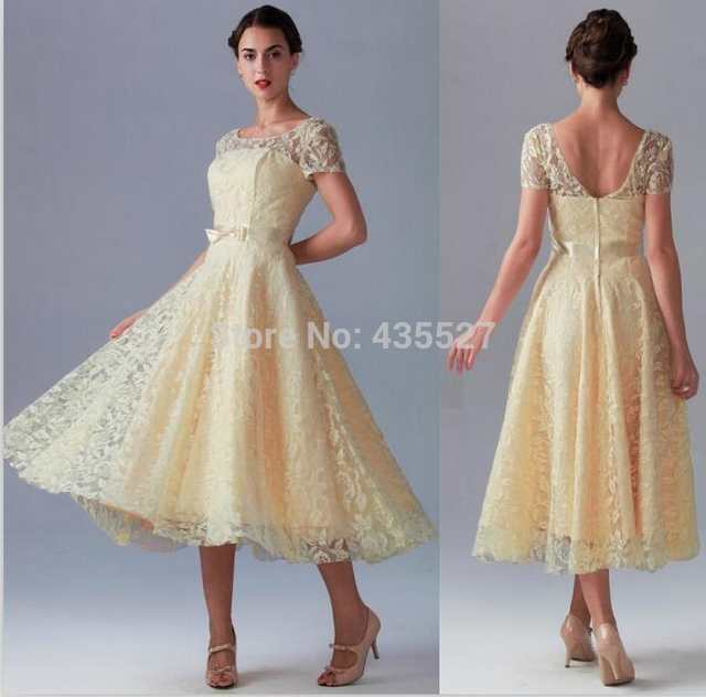 2016 Light Yellow Bridesmaid Dresses Vestidos High Neck Lace And Satin Short Sleeve Mid Calf Wedding Party Prom Gowns Wj603