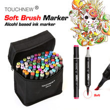 TOUCHNEW Sketch Soft Brush Art Markers Set Dual Headed Oily Alcohol Based Markers For Manga Drawing Animation Design Supplies art markers set dual headed sketch alcohol drawing pens markers animation manga art supplies