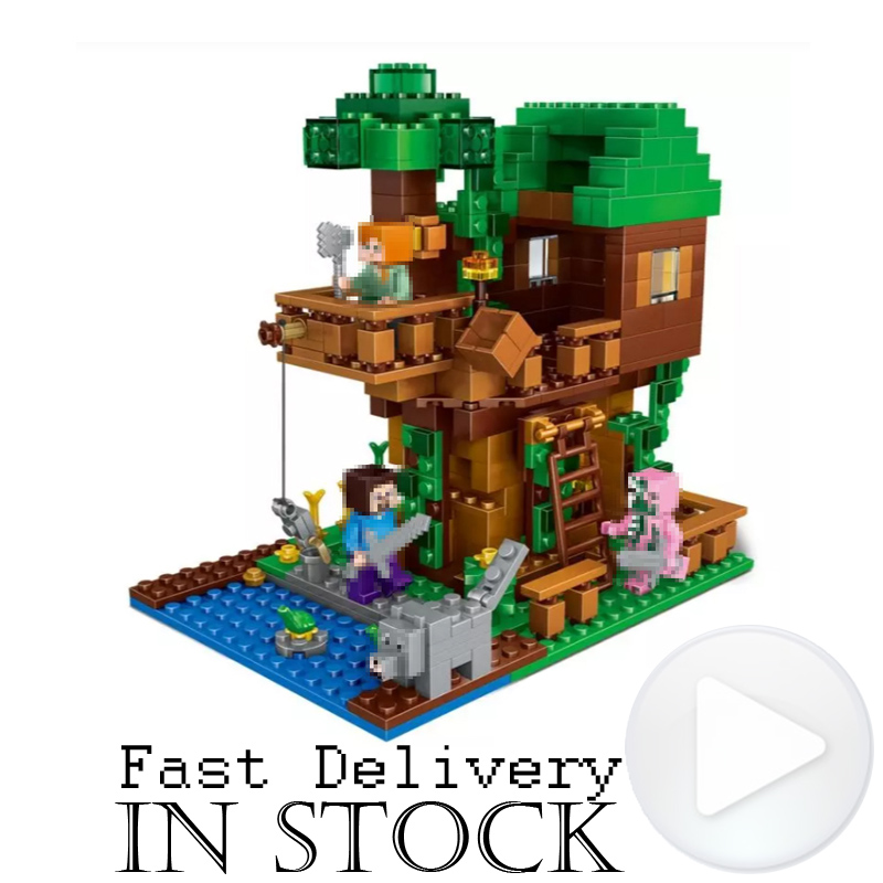 LEPIN 406pcs My World The Jungle Tree House Minecraft Figures Building Blocks Bricks Toy for Children Compatible legoingly 21125 lepin minecraft 504pcs the forest secret my world figures building blocks bricks fun castle house toys for children gifts