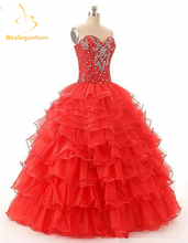 2017 New Red Gold Purple Cheap Quinceanera Dresses Ball Gown Crystals Organza Sweet 16 Dresses Vestidos De 15 Anos
