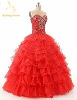 2017 Novo Ouro Vermelho Roxo Cristais Organza Doce 16 Vestidos Baratos Vestidos Quinceanera vestido de Baile Vestidos De 15 Anos