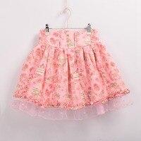 Симпатичные девушки Лолита Складки мини Юбка Японский стиль Роза Печать Двойные слои Кружева Отделка Цветочные юбки