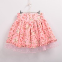 かわいい女の子ミニフリルスカート和風ローズプリント二層レーストリム花ロリータスカート
